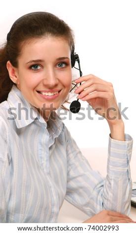 A female customer service consultant, closeup - stock photo