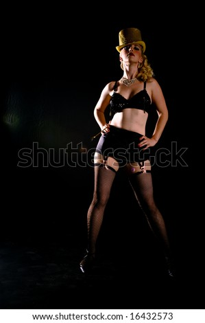 A female dancer, photographed in the studio. - stock photo