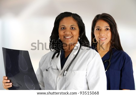 A female doctor and nurse set in their office
