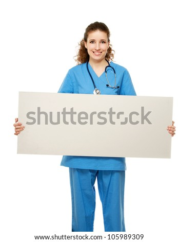 A female doctor holding a blank