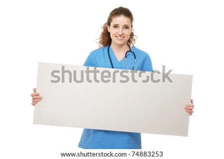 A female doctor holding a blank - stock photo