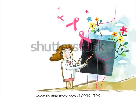 A female doctor pointing at a black board that is surrounded by flowers and ribbons.