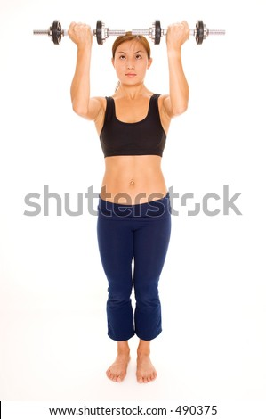 A female fitness instructor demonstrates the starting position of a shoulder lift