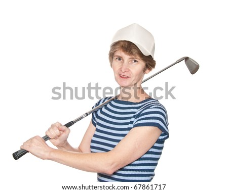 A female golf player isolated on white.