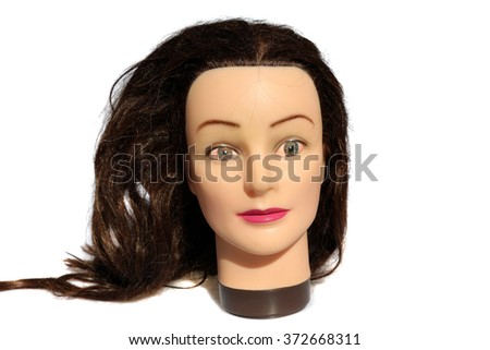 A female Hair Dressers Mannequin Head with HUMAN Eyes.  Isolated on white with room for your text. - stock photo
