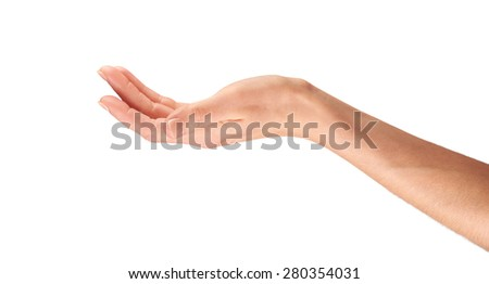 A female hand outstretched holding isolated on a white background.
