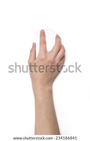 A female hands hold a white mouse isolated white, top view at the studio. - stock photo