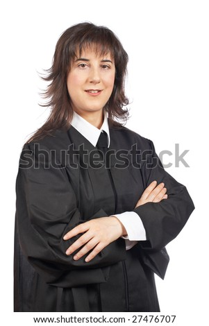 A female judge isolated on white background - stock photo
