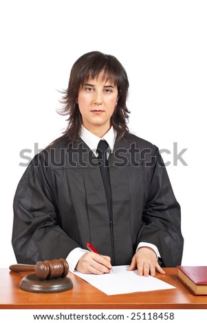 A female judge sign to blank court order, over a white background. Shallow depth of field - stock photo