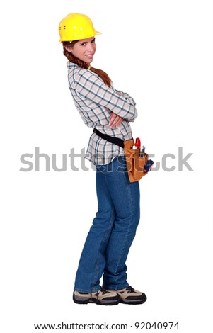 A female manual worker. - stock photo