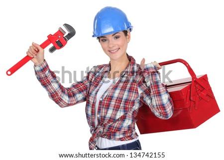 A female mechanic. - stock photo
