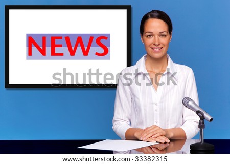 A female newsreader presenting the news, add your own text or image to the screen behind her. - stock photo