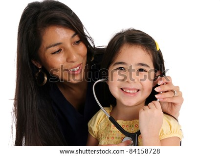 A female nurse with patient set on a white background - stock photo