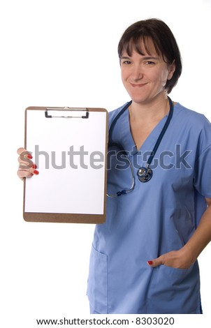 A female physician poses with a blank sheet of paper on her clipboard, which is intended for the user to place copy somewhere on the paper. - stock photo