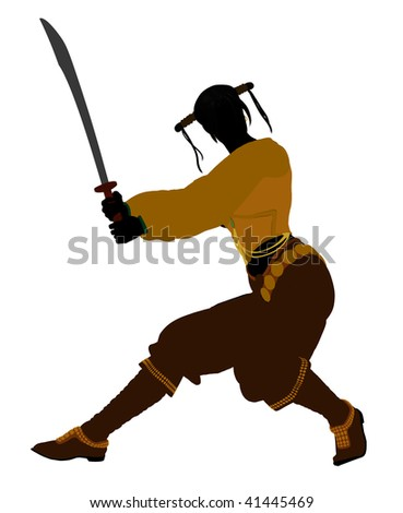 A Female pirate silhouette on a white background