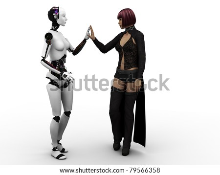 A female robot and a female human touching each others hands, examining each other. White background. - stock photo