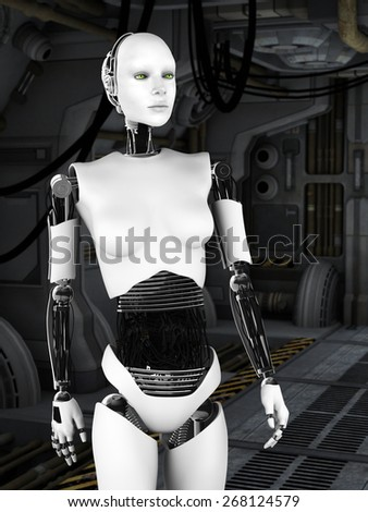 A female robot standing in a science fiction inspired corridor.
