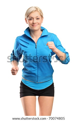 A female runner running isolated against white background - stock photo