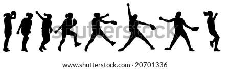 a female softball player pitching - stock photo