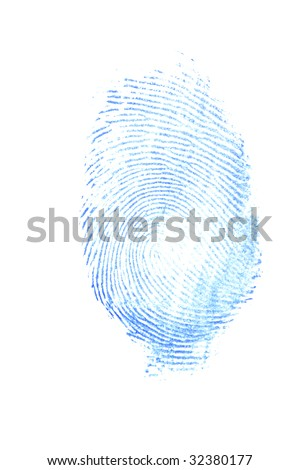 a female thumb print in blue ink - stock photo