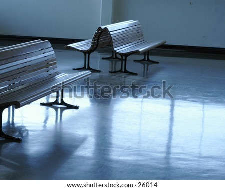 A ferry terminal waiting room - stock photo