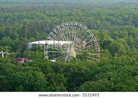 a ferry wheel in an amusement park