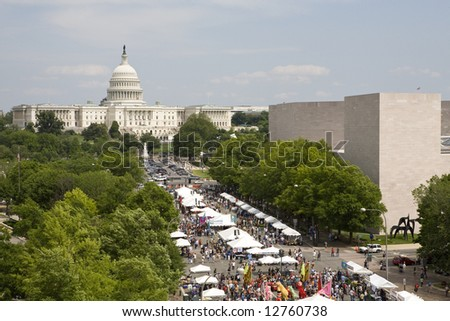 A festival takes place in from of the Capital Building in Washington DC