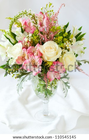 A festive  bouquet in a vase on the table - stock photo
