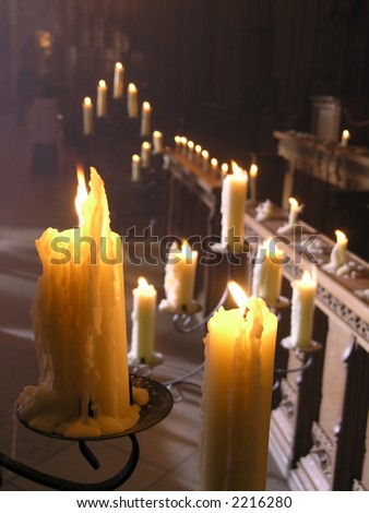 A festive church service with candles - stock photo