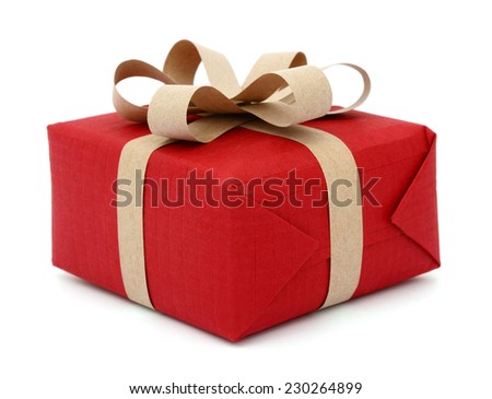 A festive gift box shopping isolated on white background  - stock photo