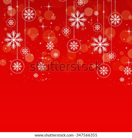 A festive holiday background in red with white snowflakes. - stock photo