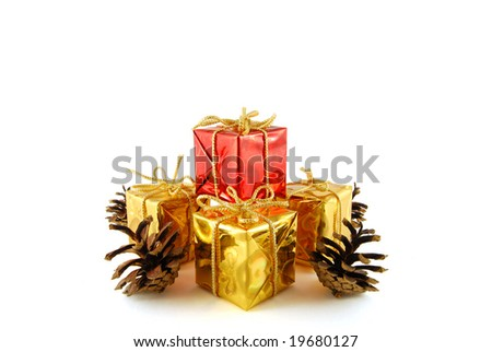 A few boxes with gift and cones on the white background