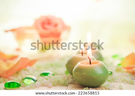 A few burning candles and salt spa