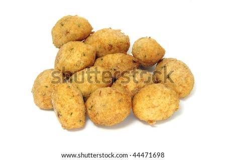 a few cod fritters isolated on a white background