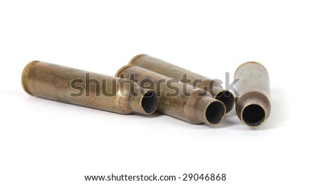 a few empty bullet cartridges - stock photo