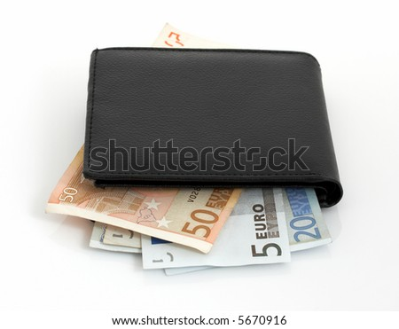 A few euro notes inside a wallet