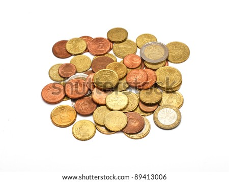 A few euros coins, isolated - stock photo