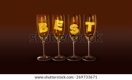 "A few glasses with the text ""best"" on a brown background as a symbol of the best parties - stock photo"