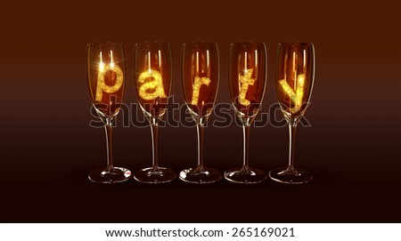 "A few glasses with the text ""party"" on a brown background as a symbol of the best parties - stock photo"