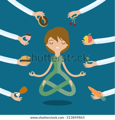 A few hands offers women a healthy and junk food. Flat style, vector illustration - stock photo