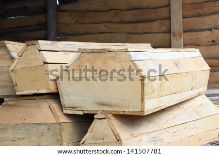 A few pieces of wooden coffins - stock photo