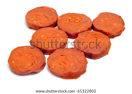 a few slices of sobrasada, a typical mallorca sausage - stock photo