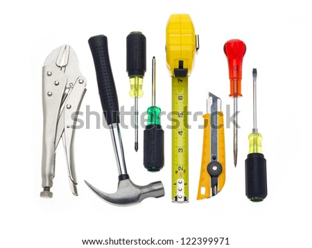 A few tools lined up neatly on a white background