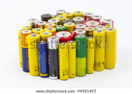 a few used batteries - stock photo