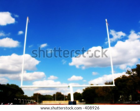 a field goal post in a football field - stock photo