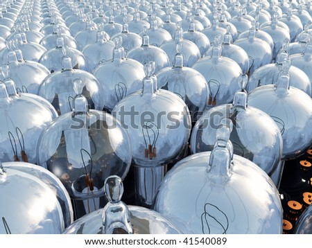 A field of original vintage Thomas Edison light bulbs, illustration of hundreds of light bulbs lined up. Close to far glass base and filament conceptual metaphor - stock photo