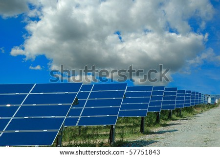 A field of photovoltaic solar panels - stock photo