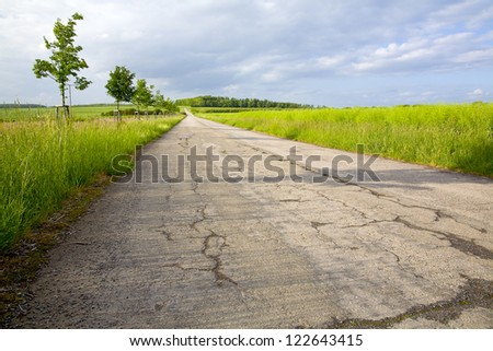 A fields asphalt way in the evening sun, to right rape plants,by Beckingen, Saarland / Germany - stock photo
