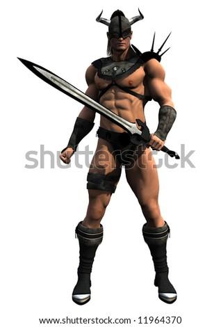 A fierce barbarian warrior wielding a huge sword. - stock photo