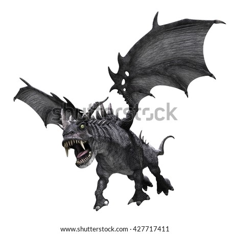 A fierce dragon begins to swoop down for the kill - 3d render. - stock photo